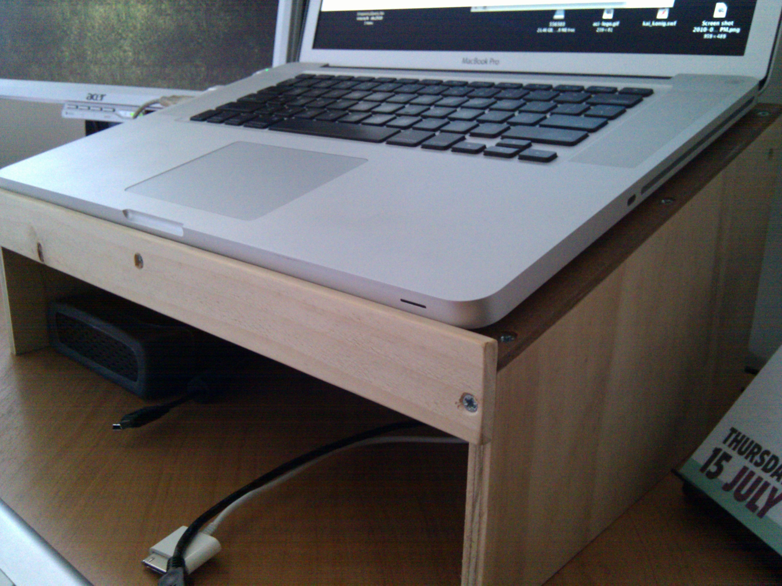 My new desk: awesome laptop and monitor stands for Macbook Pro